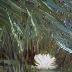 Одинокая кувшинка в камышах пейзаж картина масло холст