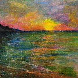 Летний закат Морской пейзаж Рисунок Пастель