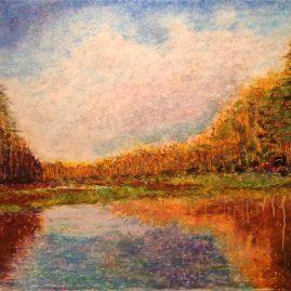 Речной пейзаж Река Пра Рисунок пастель