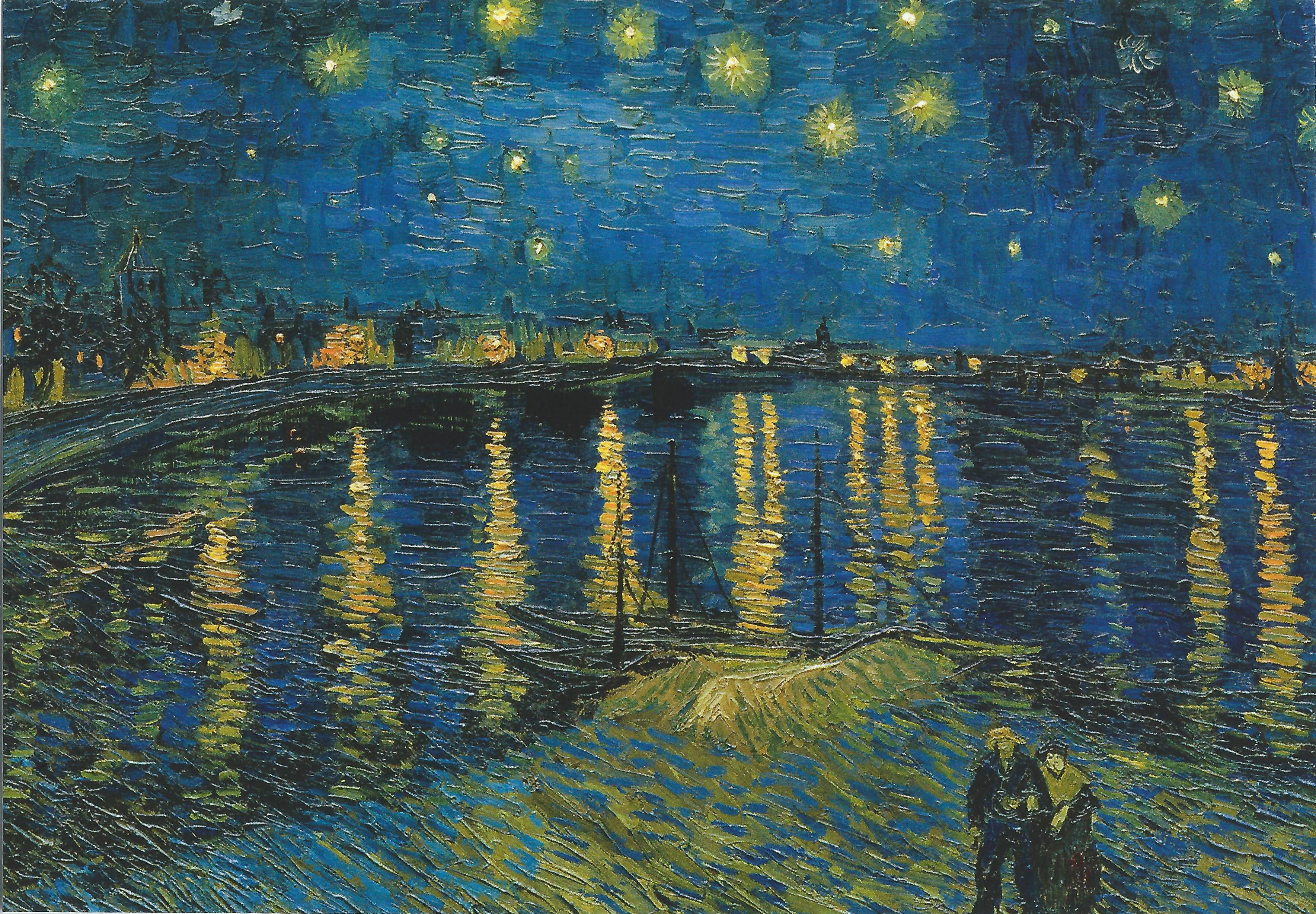 Ван Гог Звездная ночь над Роной пейзаж картина маслом