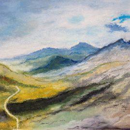 Горы пейзаж рисунок пастель