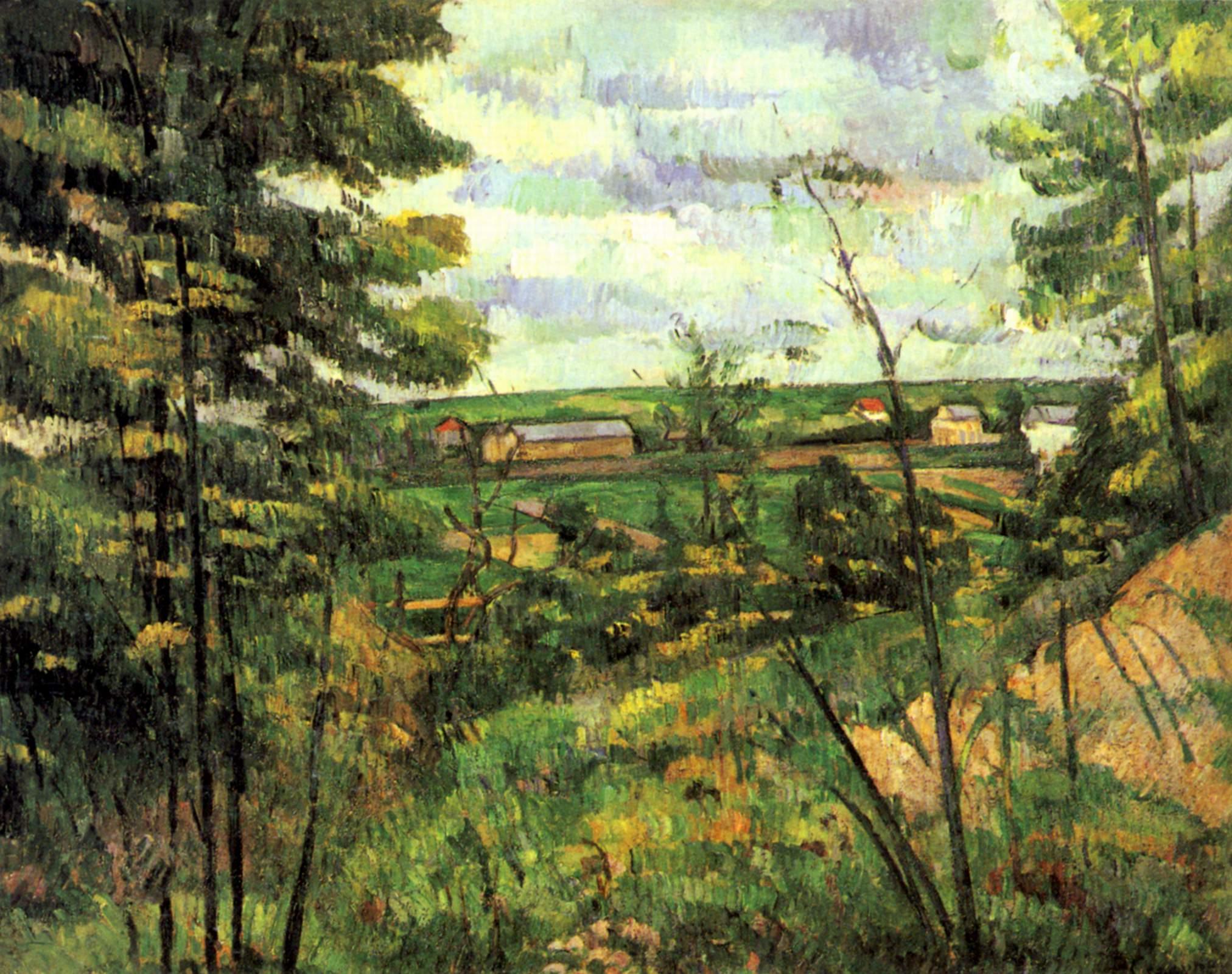 Поль Сезанн пейзаж the valley of the oise 1880 год картина холст масло