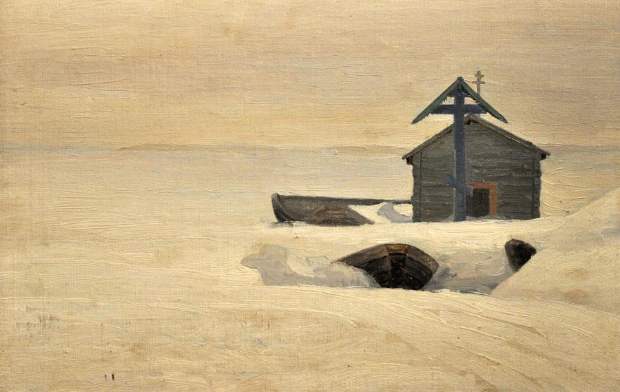 Александр Борисов картина Часовня на берегу Югорского Шара холст масло