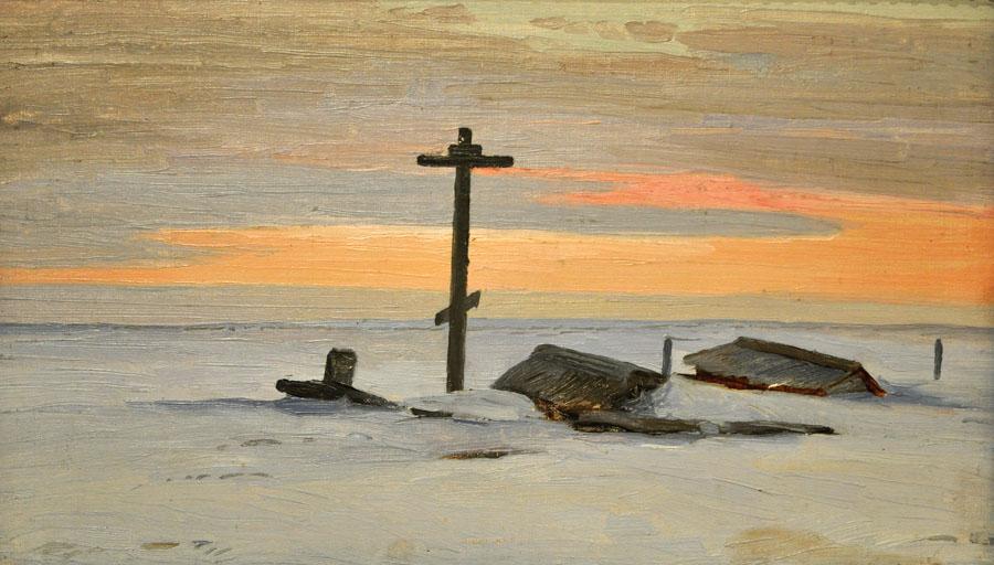 Александр Борисов картина Кладбище на острове Вайгач пейзаж масло
