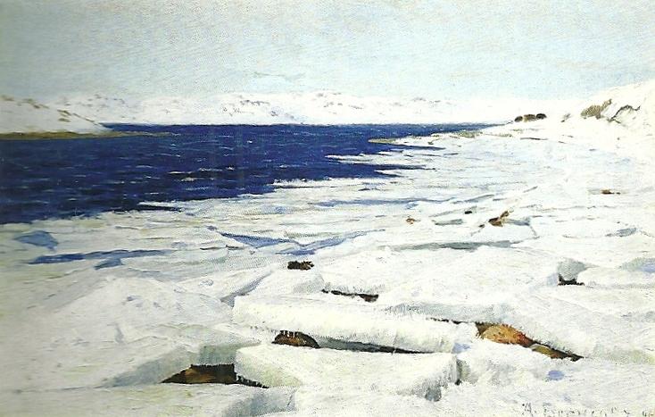 Александр Борисов картина Лед ранней весной во время морского отлива в губе Средняя пейзаж масло