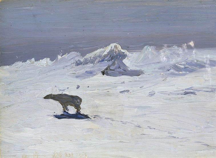 Александр Борисов картина Лунная ночь. Медведь на охоте пейзаж масло