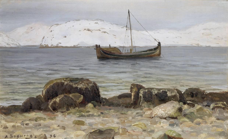 Александр Борисов картина Мурманская гавань в марте пейзаж масло