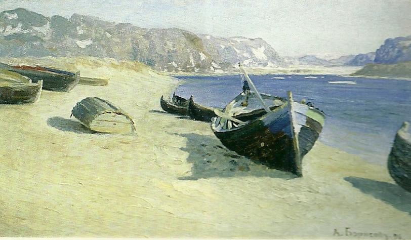 Александр Борисов картина Река Териберка и треско-промысловые шняки холст масло