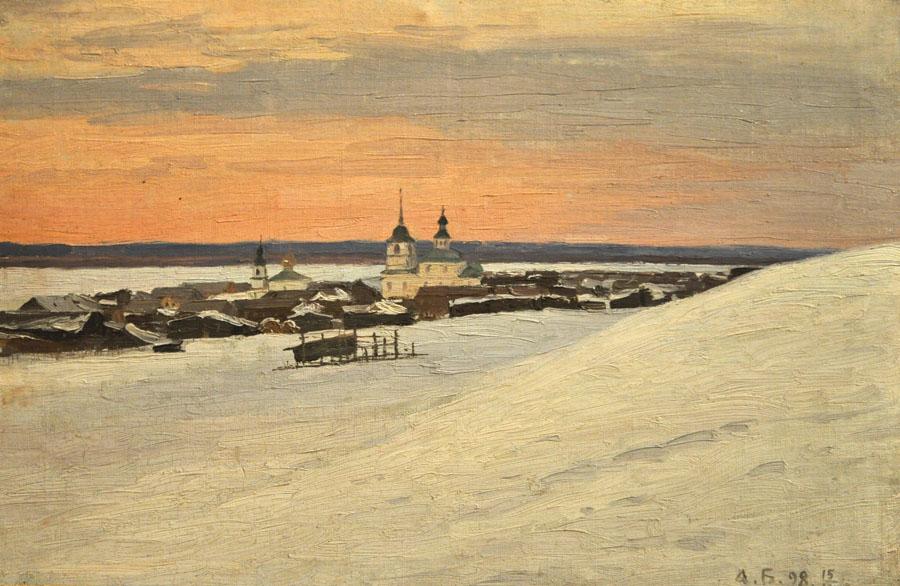 Александр Борисов картина Усть-Цильма на Печоре пейзаж холст масло