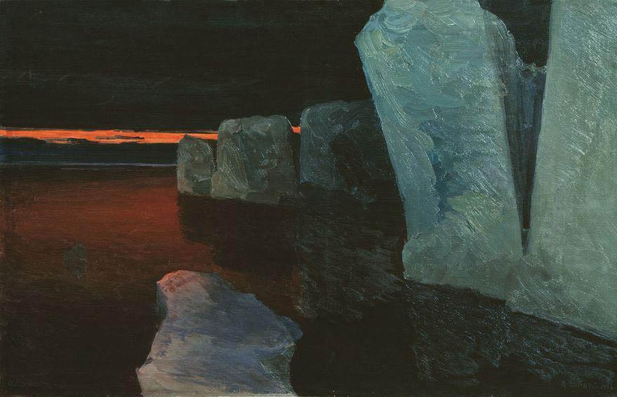 Александр Борисов картина Закат морской пейзаж холст масло