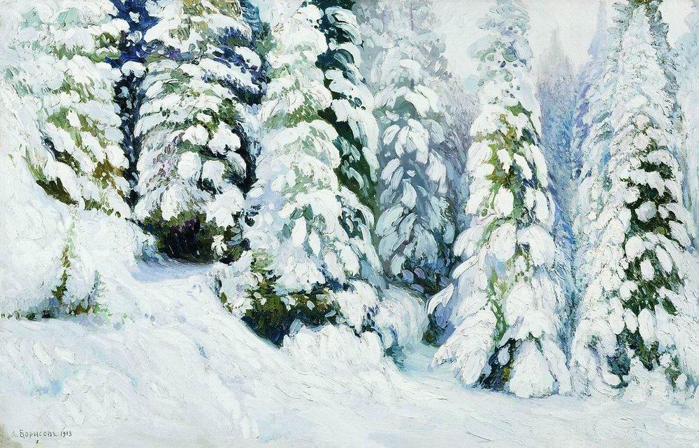 Александр Борисов картина Зимняя Сказка пейзаж масло