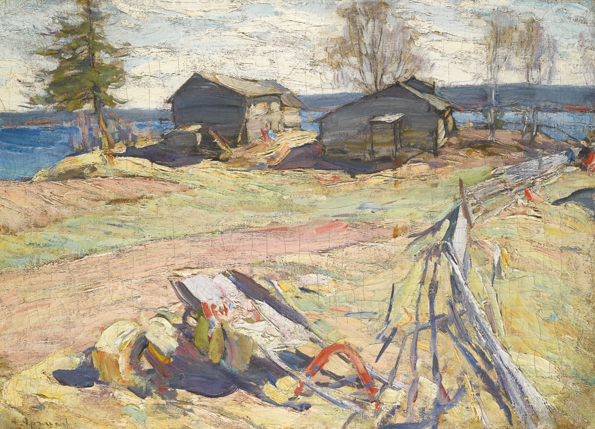Архипов Абрам картина Деревня на севере пейзаж холст масло