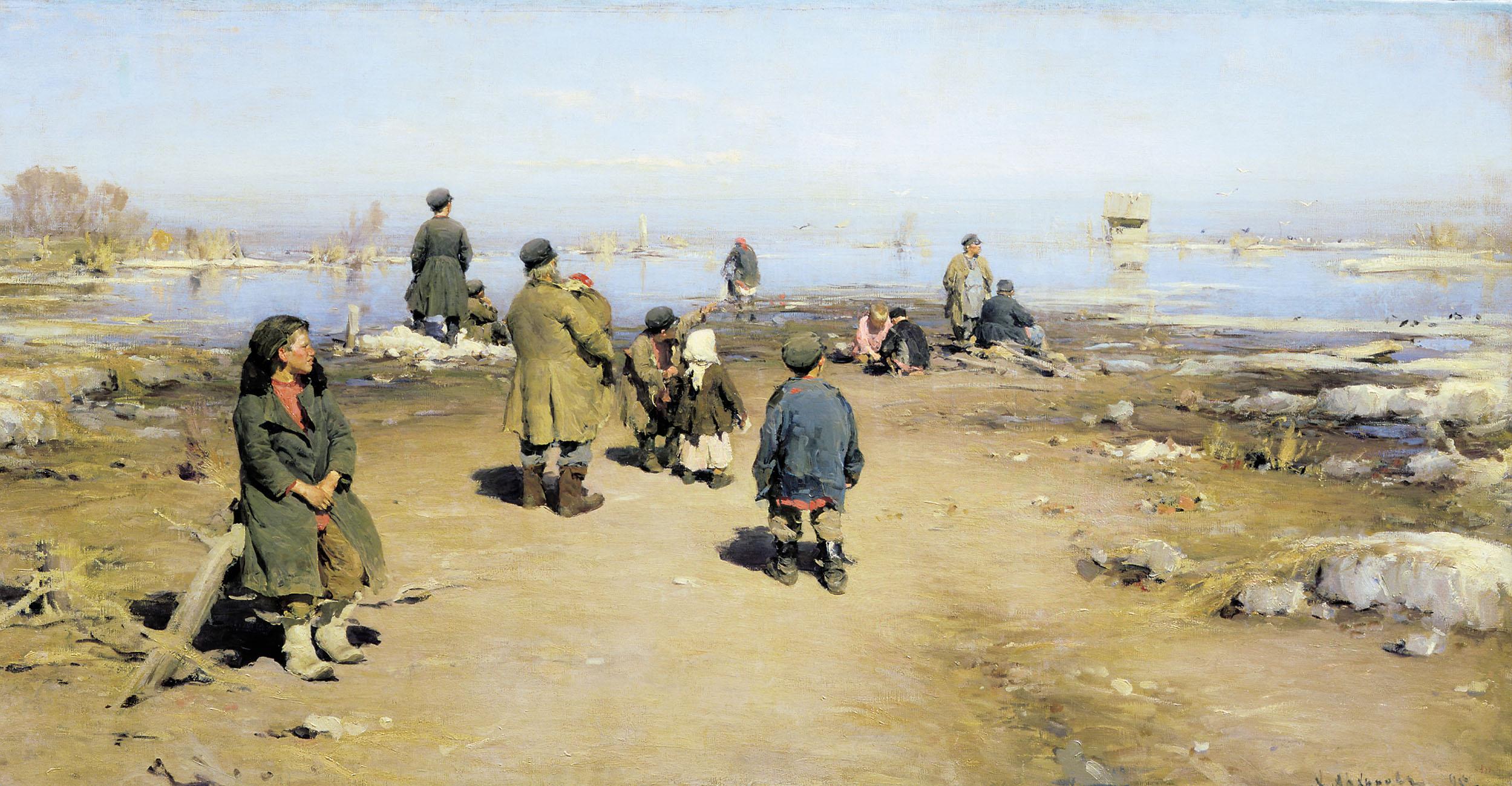 Архипов Абрам картина Лед прошел весенний пейзаж холст масло