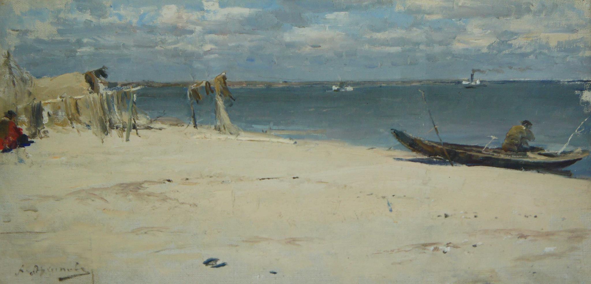 Архипов Абрам картина На Оке Этюд 1890 холст масло