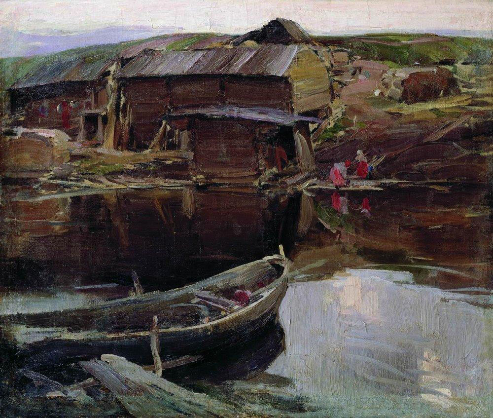 Архипов Абрам картина Северная деревня 1910 пейзаж холст масло