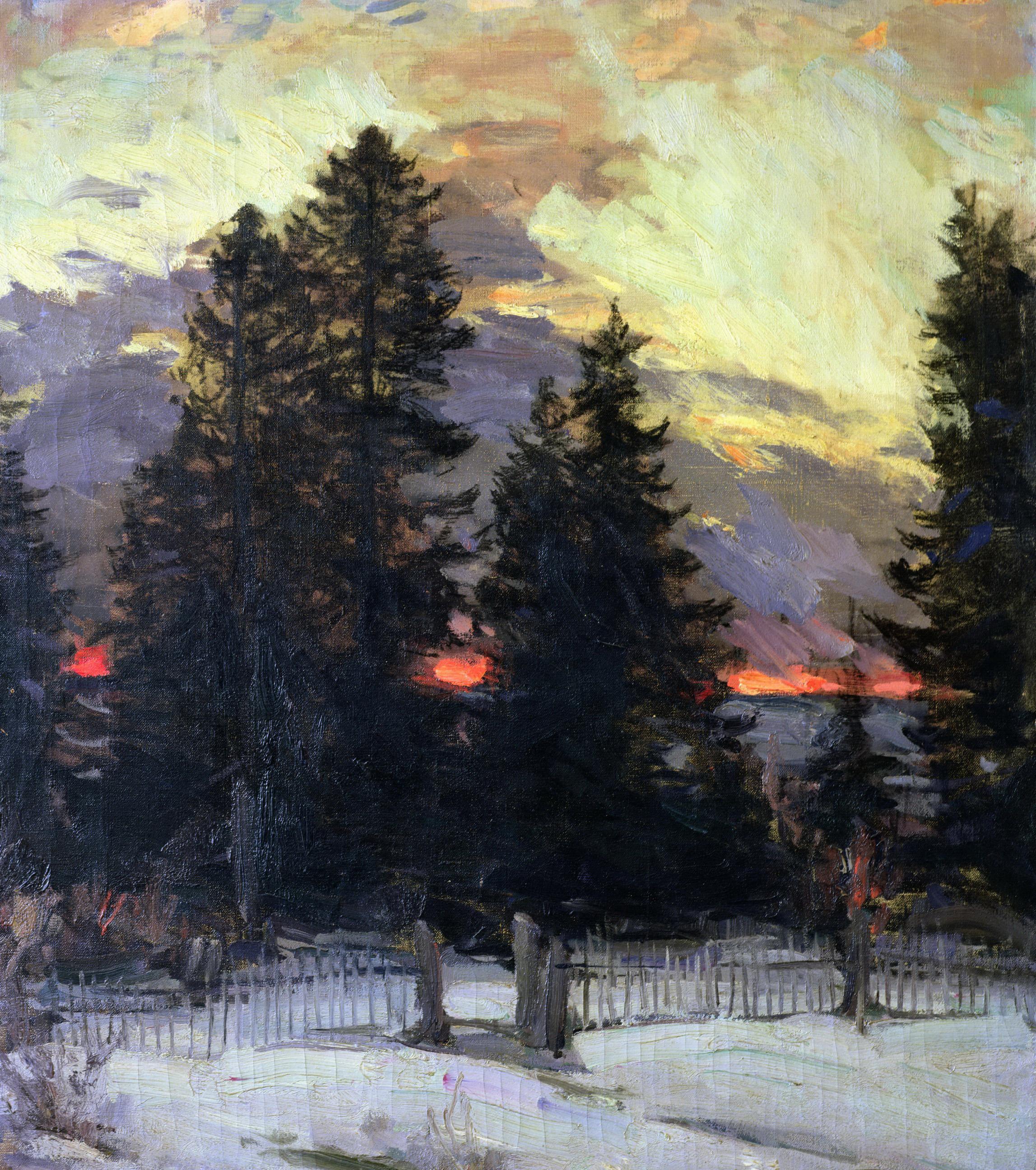 Архипов Абрам картина Закат Зимний пейзаж 1902 Coucher de soleil sur un paysage холст масло