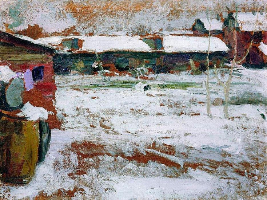 Архипов Абрам картина Зима Задворки пейзаж холст масло