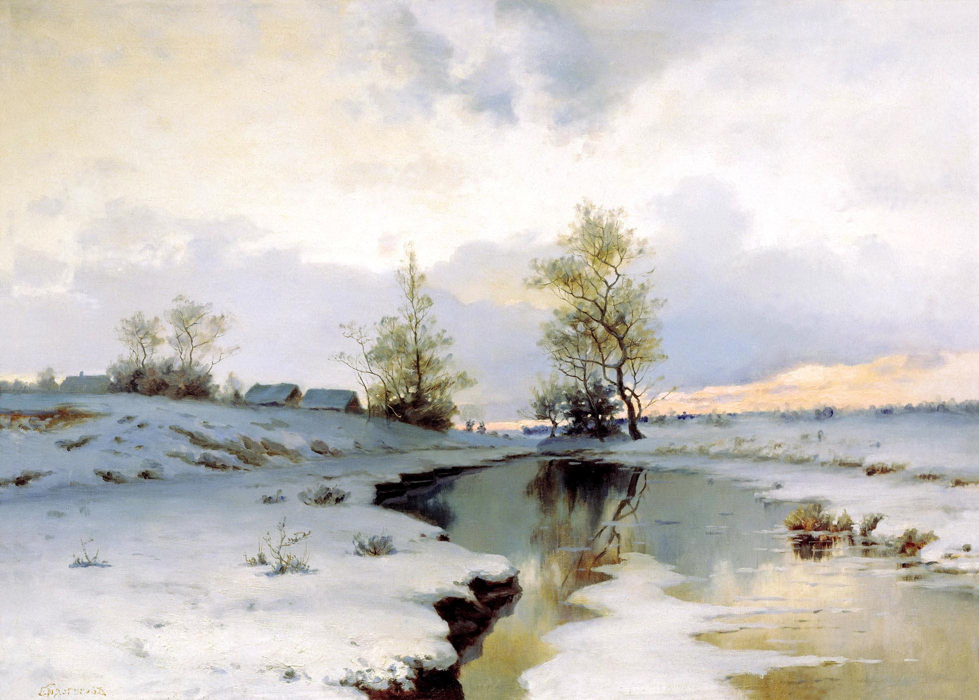 Иван Ендогуров картина Начало весны весенний пейзаж холст масло