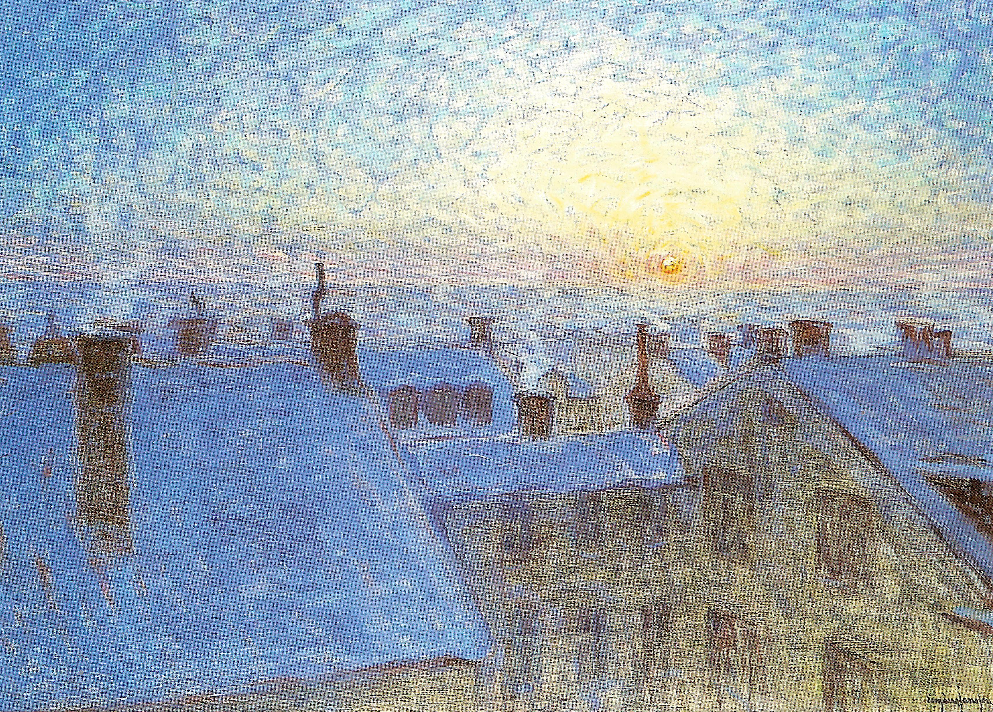 Эуген Янсон картина Восход над крышами холст масло