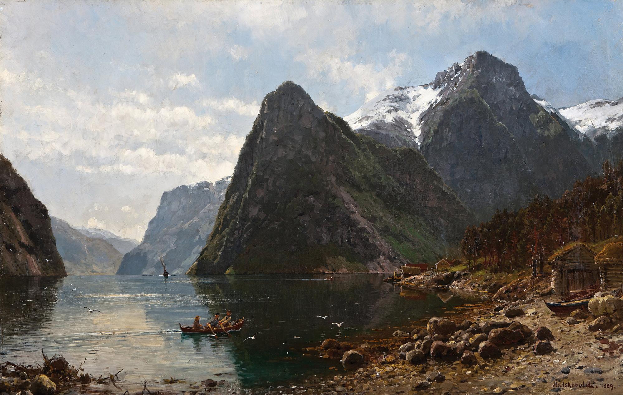 Андерс Аскевольд картина Fjord Landscape with People 1889 морской пейзаж холст масло