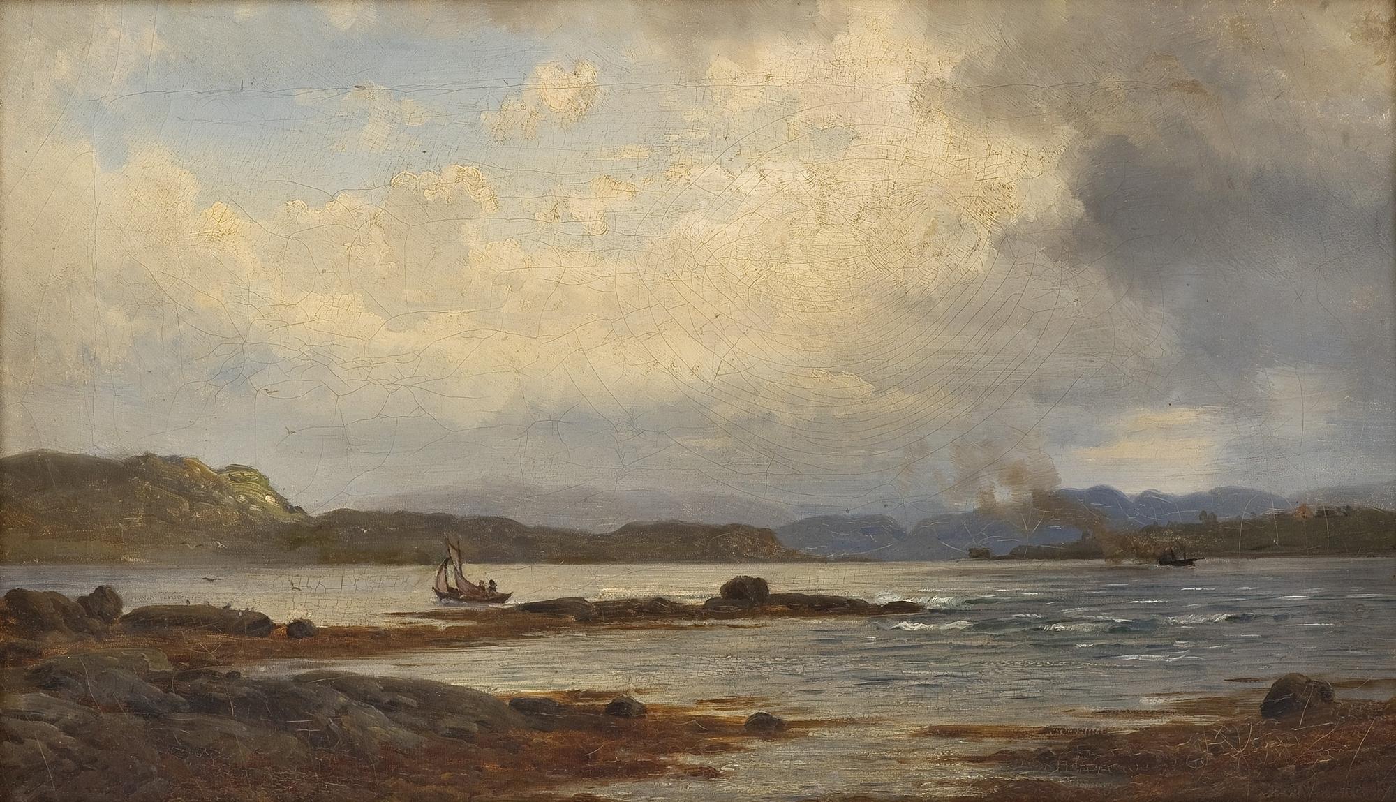 Андерс Аскевольд картина From Prestøen in Sundfjord 1878 морской пейзаж масло холст