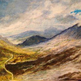 Горный пейзаж рисунок масляная пастель