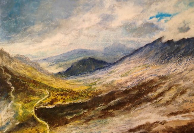 Горный пейзаж - масляная пастель - 2015