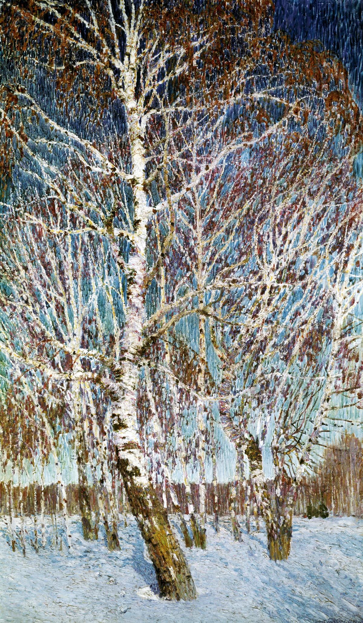 Игорь Грабарь картина Февральская лазурь зимний пейзаж холст масло