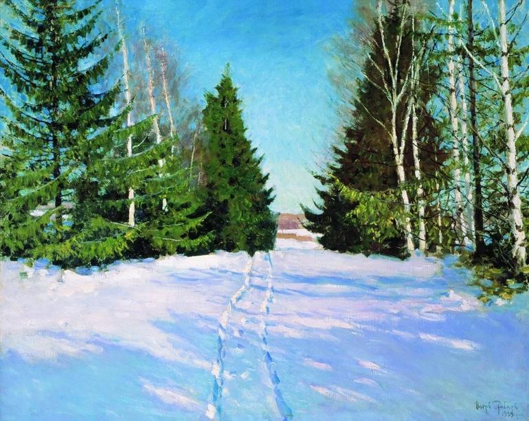 Игорь Грабарь картина Март зимний пейзаж холст масло