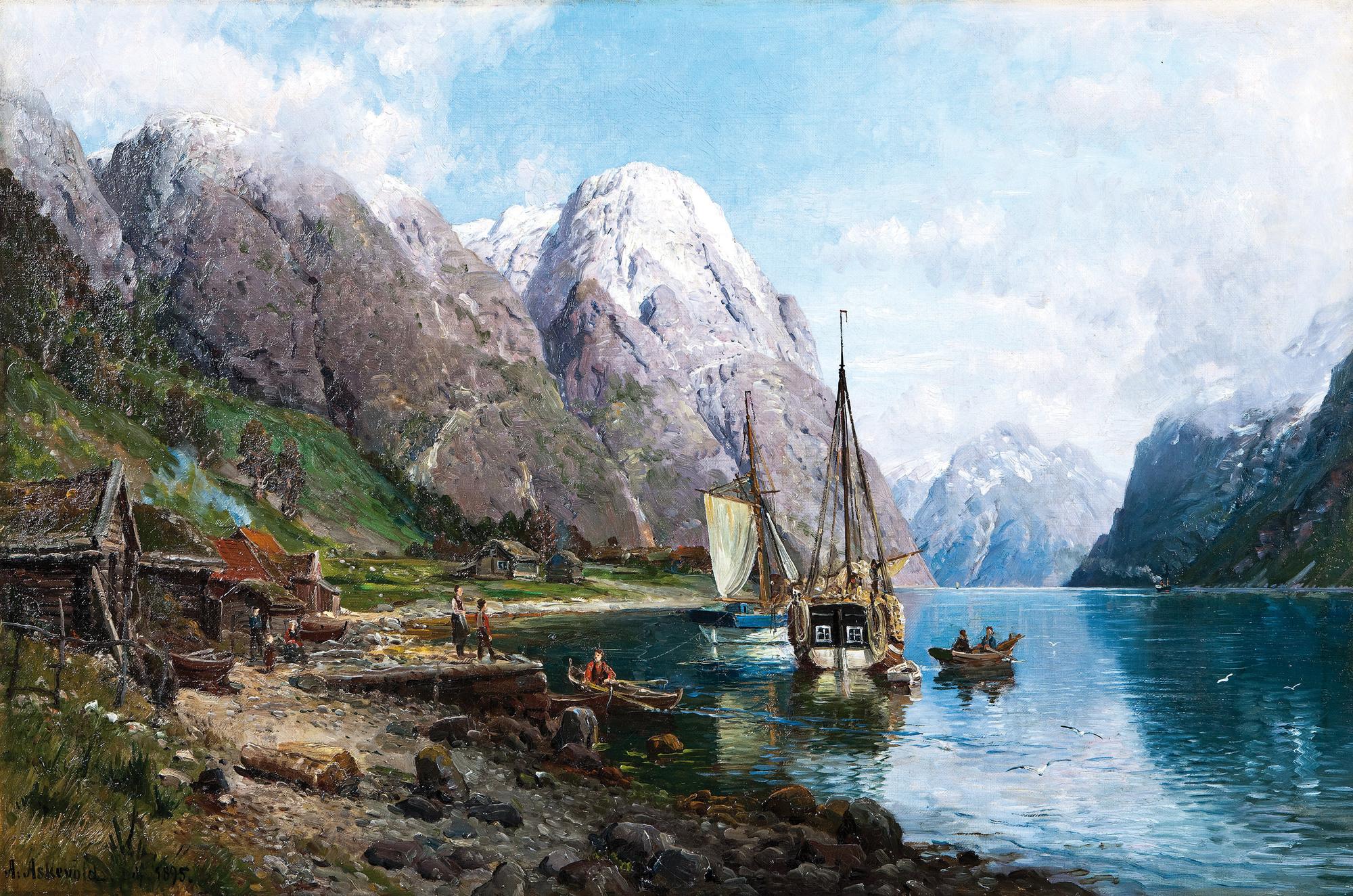 Андерс Аскевольд картина Harbor in the Sognefjord 1895 морской пейзаж масло холст