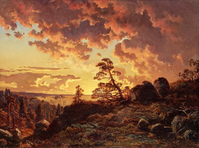 Иоганн Эдвард Берг картина пейзаж Solnedgång över fjärden 1855