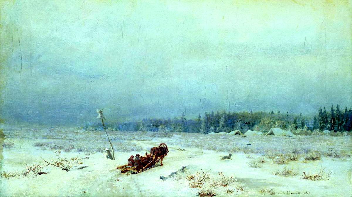 Валериан Каменев картина Зимняя дорога зимний пейзаж холст масло