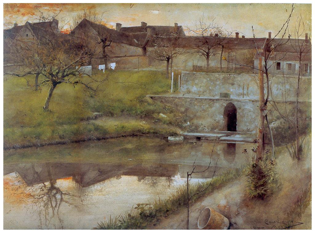 Карл Ларссон картина Пруд в Гре-сюр-Луань 1883
