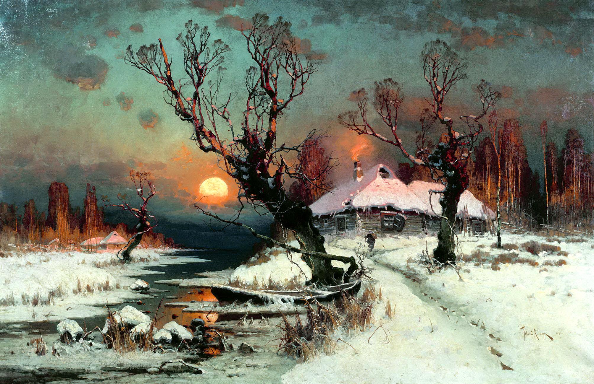 Юлий Клевер картина Закат солнца зимой зимний пейзаж холст масло