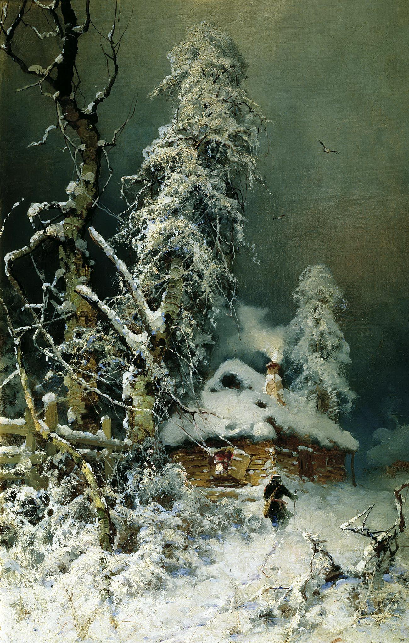 Юлий Клевер картина Зимний пейзаж с избушкой холст масло