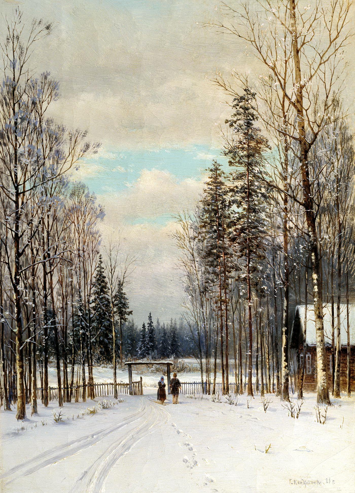 Гавриил Кондратенко картина Зима зимний пейзаж холст масло