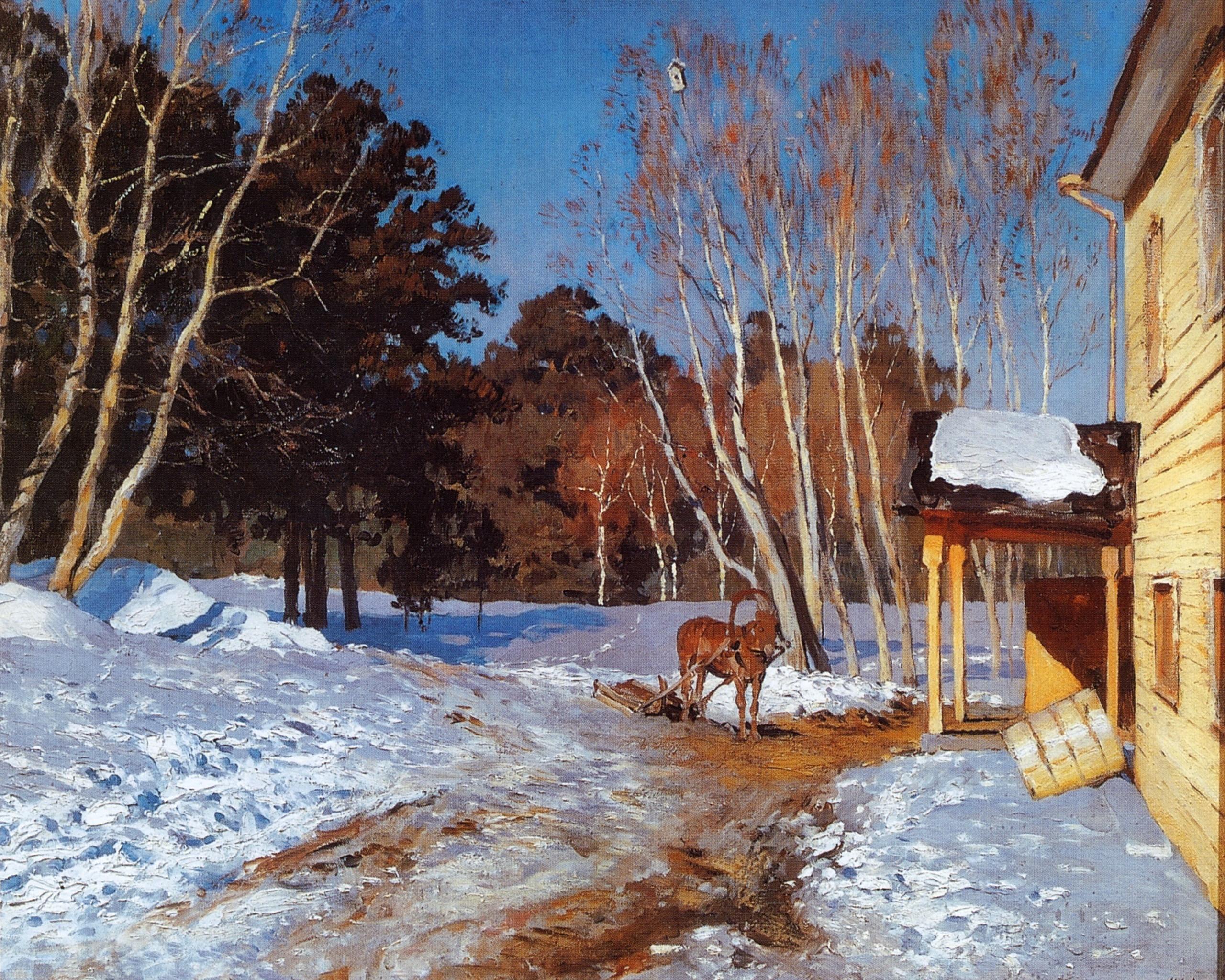 Исаак Левитан картина Март зимний пейзаж холст масло