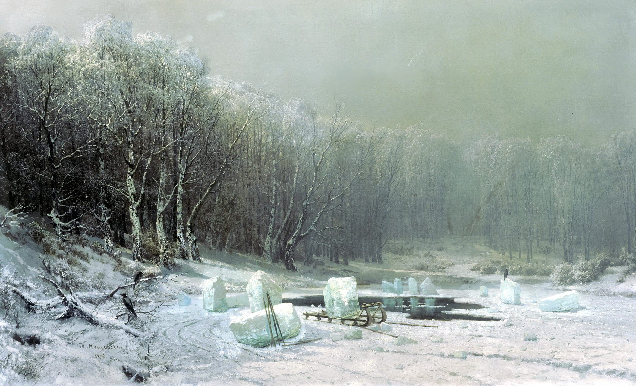 Арсений Мещерский картина Зима. Ледокол зимний пейзаж холст масло