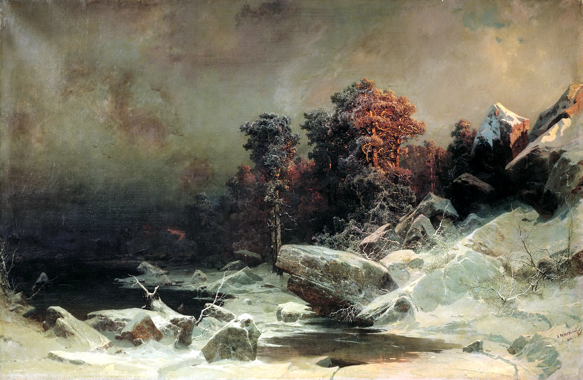 Арсений Мещерский картина Зимний вечер пейзаж холст масло