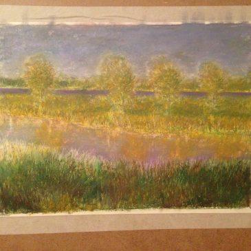 Речной пейзаж рисунок масляная пастель