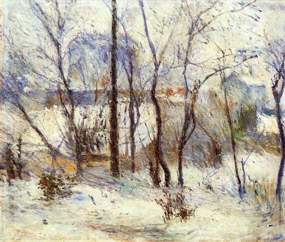 Поль Гоген картина Сад в снегу зимний пейзаж холст масло