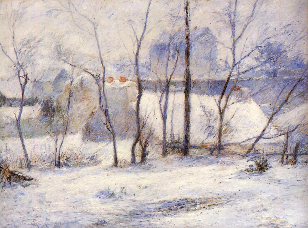 Поль Гоген картина Зимний пейзаж холст масло