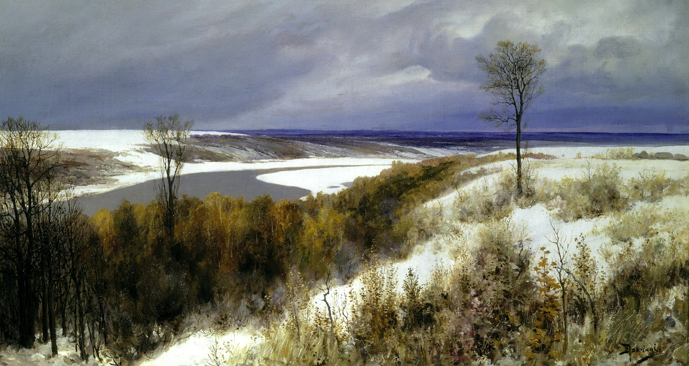Василий Поленов картина Ранний снег зимний пейзаж холст масло