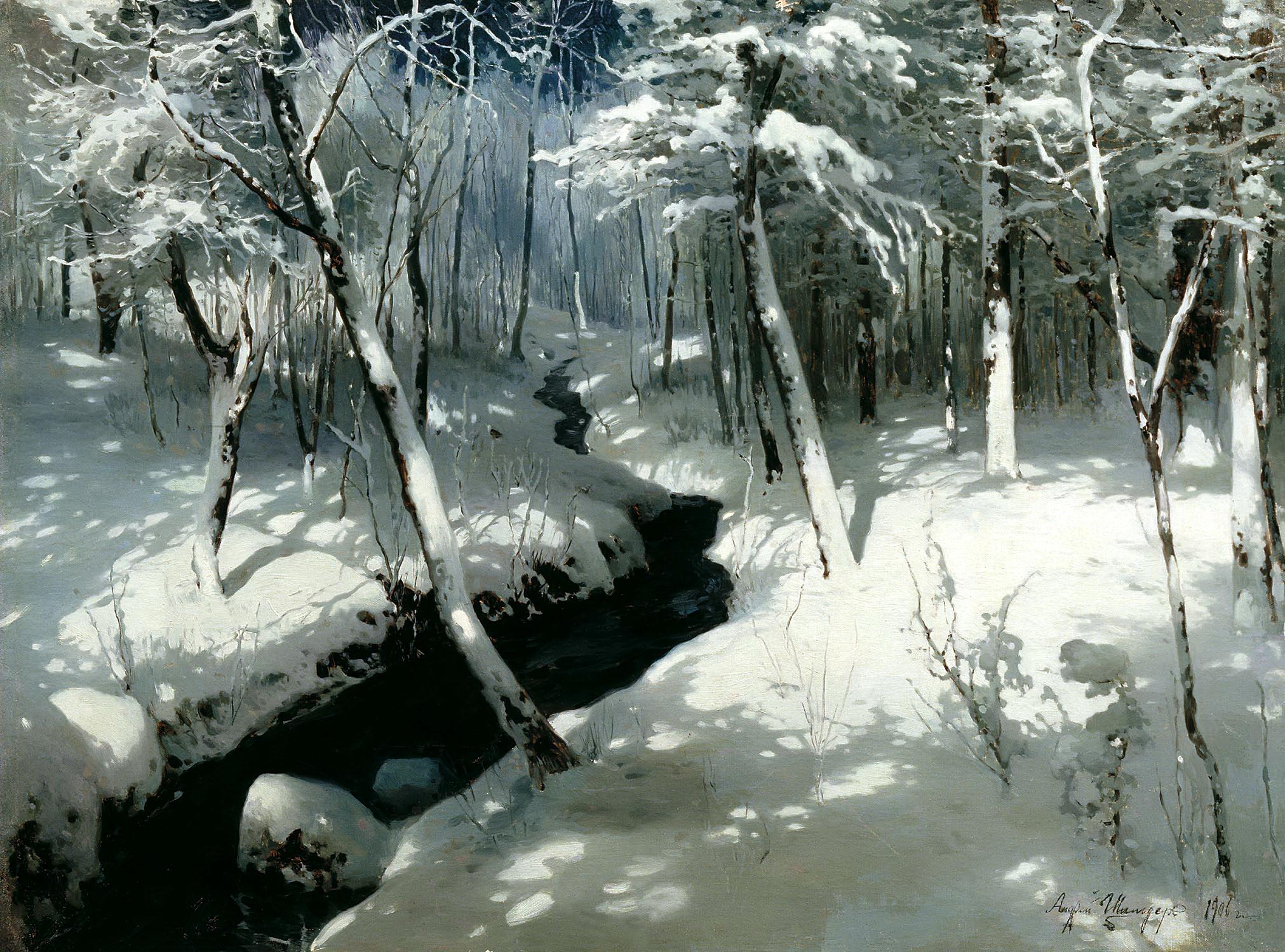 Андрей Шильдер картина Ручей в лесу зимний пейзаж холст масло
