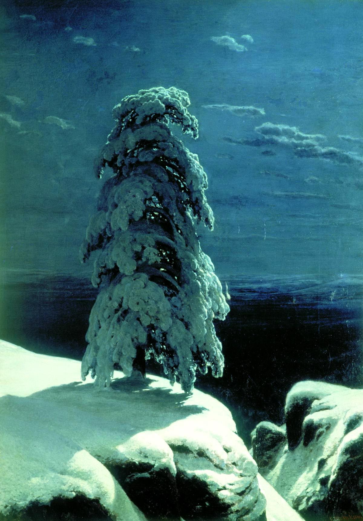 Иван Шишкин картина На севере диком зимний пейзаж холст масло