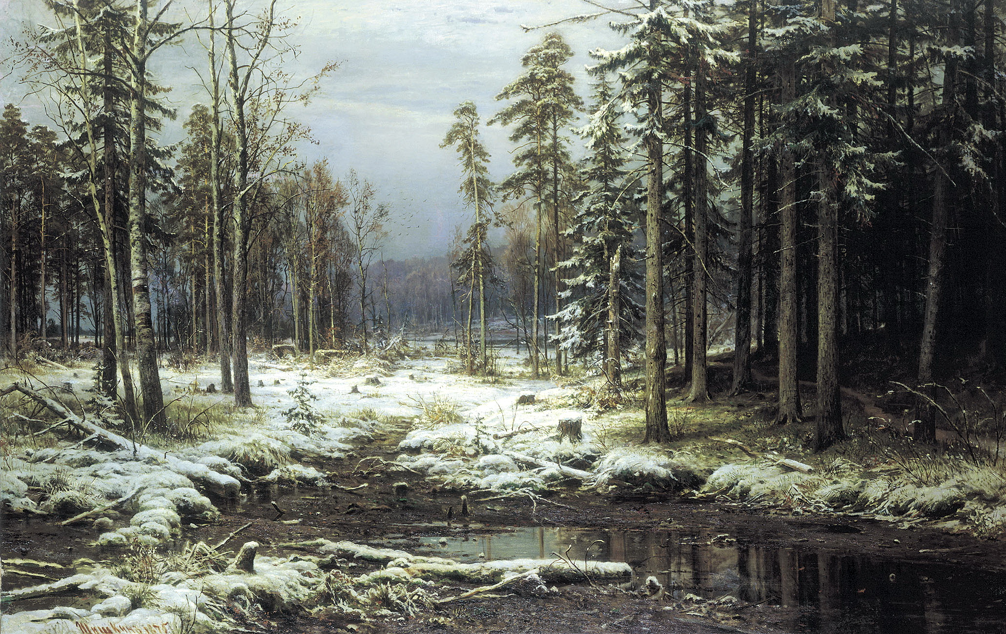 Иван Шишкин картина Первый снег зимний пейзаж холст масло