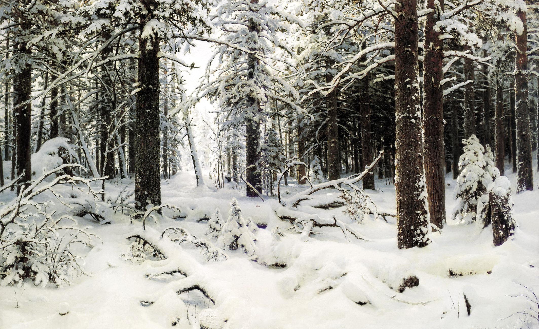 Иван Шишкин картина Зима пейзаж холст масло