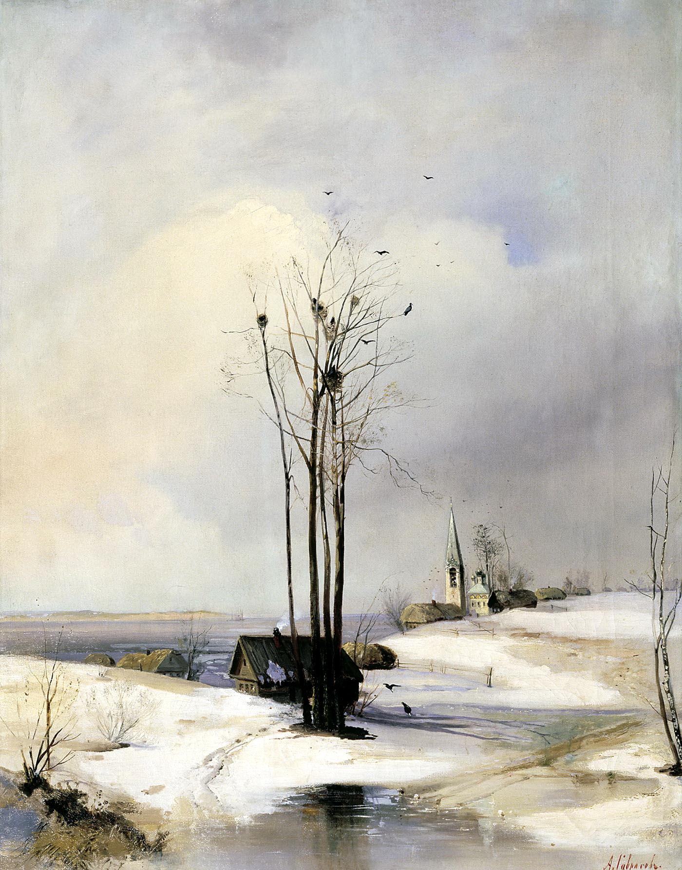 Алексей Саврасов картина Оттепель зимний пейзаж холст масло