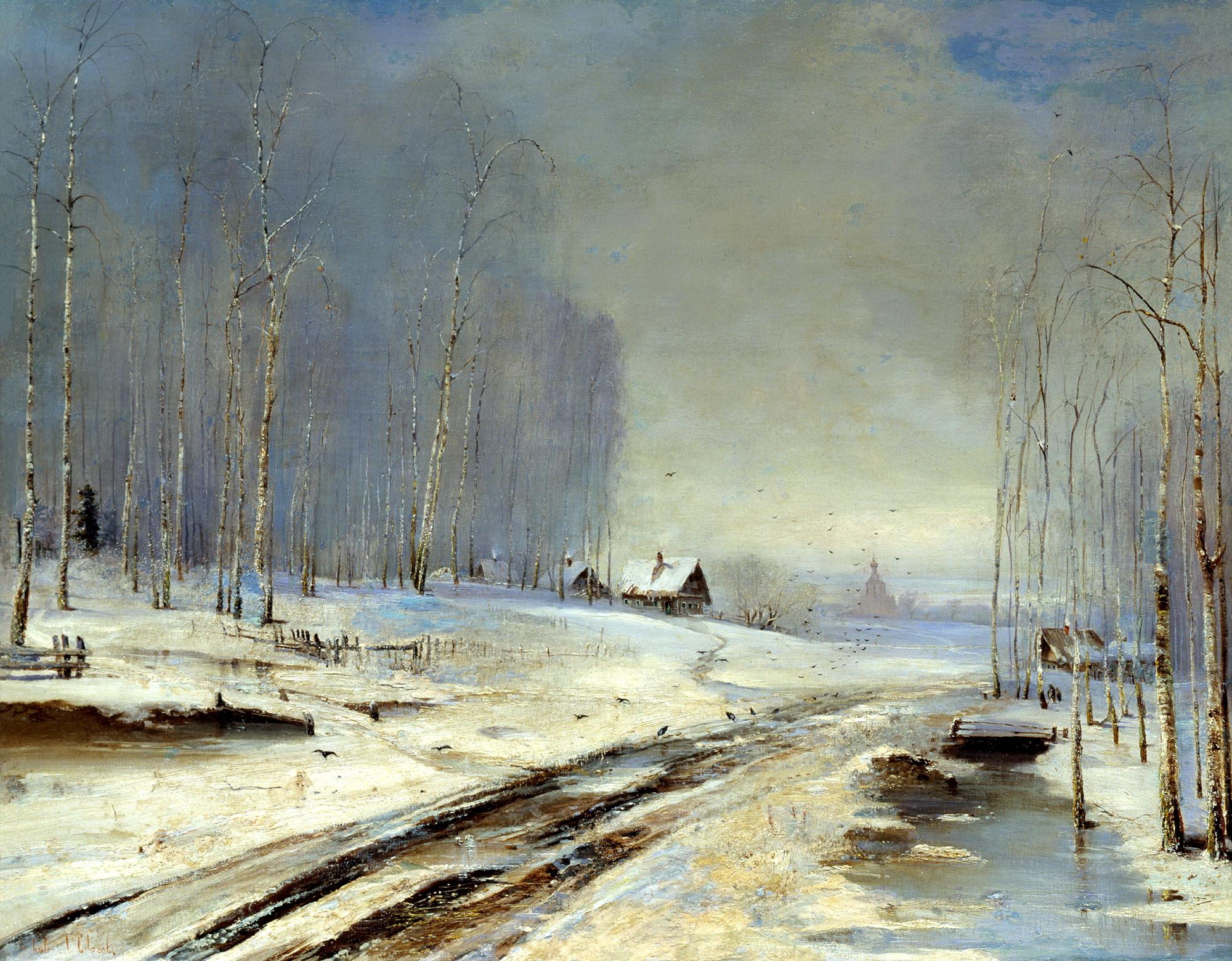 Алексей Саврасов картина Распутица зимний пейзаж холст масло