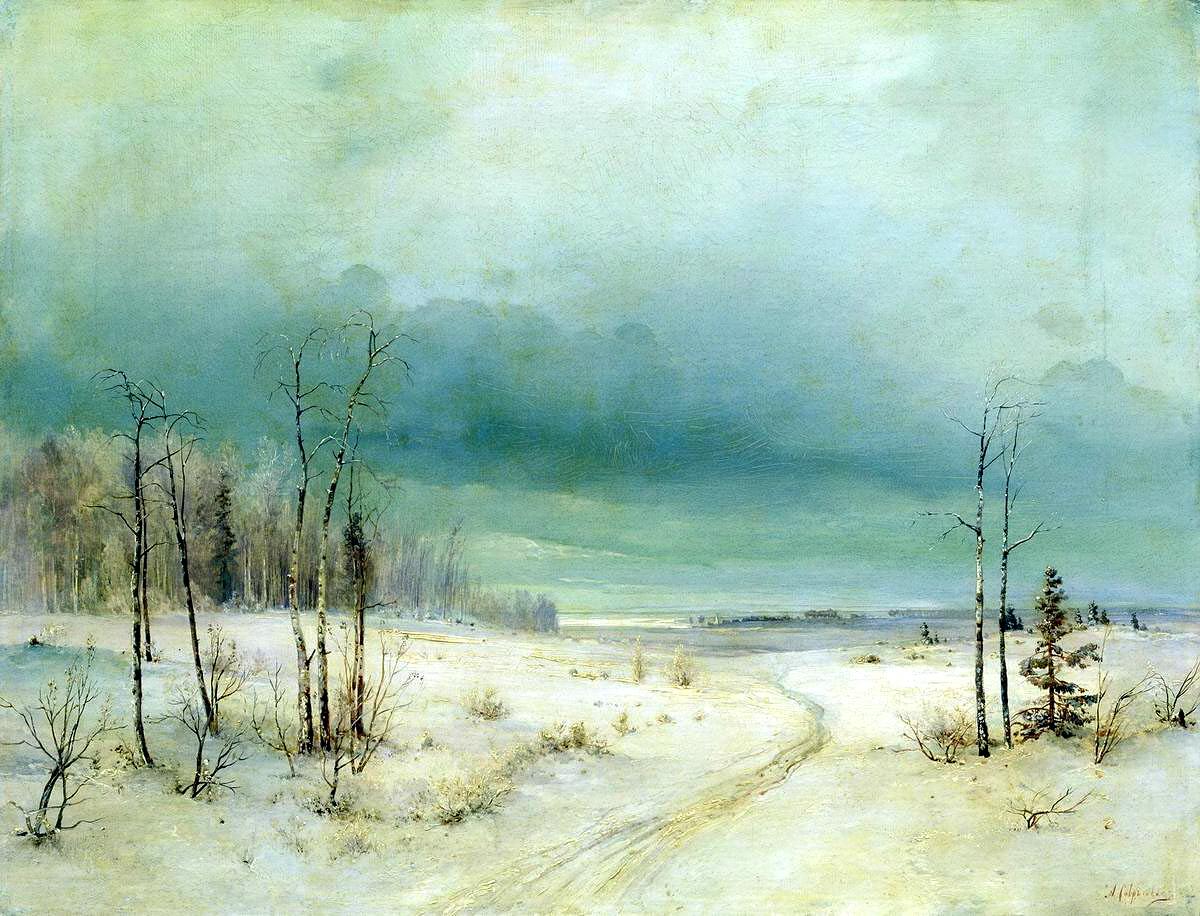 Алексей Саврасов картина Зима пейзаж холст масло